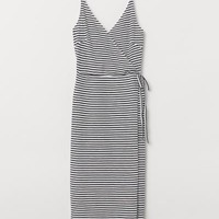 Modal-blend Jersey Dress - White/black striped - Ladies | H&M US