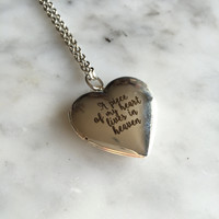 A Piece of My Heart Lives in Heaven, Memorial Locket, Memorial Necklace, Miscarriage Necklace, Miscarriage Jewelry, Engraved Heart Locket