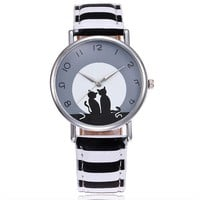 Women Lovely Cat Watch Casual Leather Watch