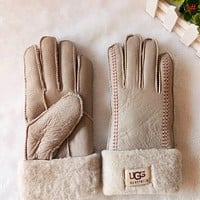 UGG Winter Woman Men Keep Warm Fur Gloves