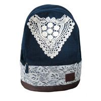 Cute Canvas Backpack with Lace for Girl