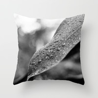 Black and White Wet Leaf Throw Pillow by Pati Designs