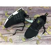 Best Online LV x Adidas NMD R1 Black Gold BY3088 Sport Running Shoes Classic Casual Sh