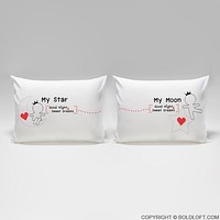 Love You All Night Long™ His & Hers Couple Pillowcases, His and Hers Gifts for Couples,Gifts,Romantic Anniversary Gifts,Wedding Gifts,Valentine's Day Gifts,Gifts for Him,Gifts for Her