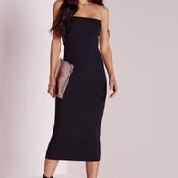 Missguided - Ribbed Bandeau Bodycon Dress Black