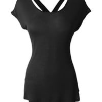 LE3NO Womens Lightweight Cross Back Tunic Top with Stretch (CLEARANCE)