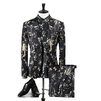 Men Luxury Wedding Suits For Men High Quality Bird Flowers Print Male Suits Prom Stage Wear