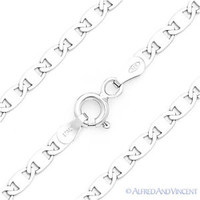 .925 Italy Sterling Silver w/ Rhodium Mariner Marina Link Italian Chain Necklace