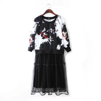 Stylish Round-neck Three-quarter Sleeve Print Lace Women's Fashion Skirt One Piece Dress [5013121668]