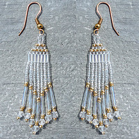 Crystal and Gold Chandelier Iridescent Beaded Earrings
