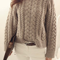Khaki Long Sleeves Cable-Knit Sweater