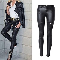 2017 spring fashion women brand clothing sexy coated jeans pants spliced faux pu leather pants fitness lady long legging pants