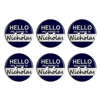 Nicholas Hello My Name Is Plastic Resin Button Set of 6