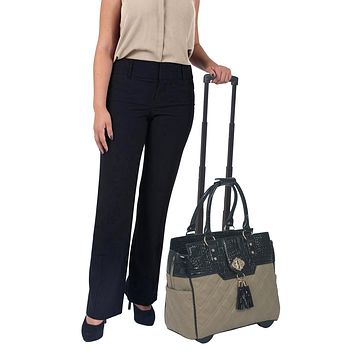 """""""THE MONTECARLO"""" Quilted Alligator Rolling Laptop Carryall Trolley Bag"""