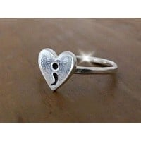 Silver Heart Ring with Semicolon