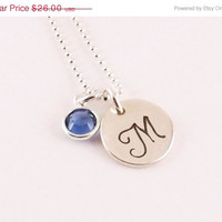 Winter Sale Personalized Monogram Style Initial Charm Necklace with Swarovski Elements Crystal Birthstone