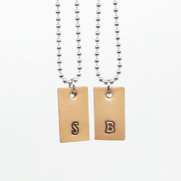 His and her pendants charms necklaces - Initial necklaces - Leather necklaces with initials girlfriend boyfriend necklaces
