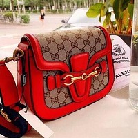 Supergirls22 GUCCI Classic Fashion Women Shopping Bag Leather Shoulder Bag Crossbody Satchel Red
