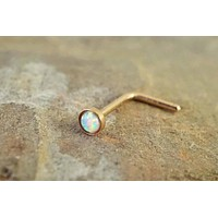 White Opal Rose Gold Nose Ring L Bend