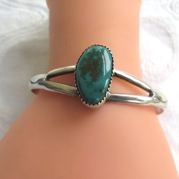 Vintage Navajo Bracelet, Old Pawn Sterling Turquoise Cuff,  Southwest Native American Jewelry