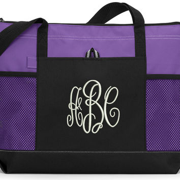 Monogrammed 3 Initial Personalized Tote Bag