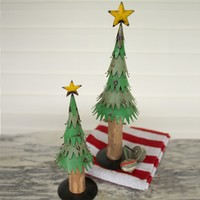 Large Painted Metal Christmas Trees With Wood Trunk (Set of 2)