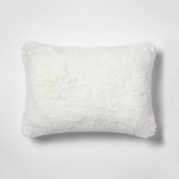 Faux Fur Oblong Throw Pillow White - Simply Shabby Chic®
