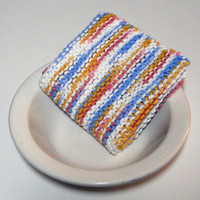 Large Hand Knit Cotton Dishcloth/ Washcloth in Shades of Blue, Pink, Gold and White,  Mix and Match for Custom Set, Housewarming/Shower Gift
