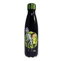 JUST FUNKY Rick and Morty Water Bottle Glow in The Dark Stainless Steel Water Bottle Black Colored, 20 OZ
