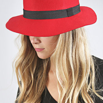 simple wool fall fedora - red