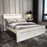 Wooden Queen Bed with Panel Headboard and Grain Details, White By The Urban Port