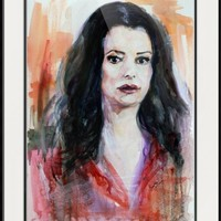 """Criminal Minds Emily Prentiss Watercolor"" by Ginette Callaway"