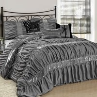 The Ciara Sequin Accent Ruched Gray 7PC Comforter Bedding Set