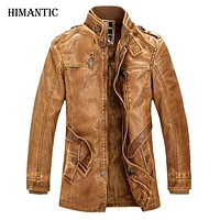 Winter Leather Jacket Men Warm thick washed leather jackets Men's Motorcycle Biker Coat Stand Collar Parkas