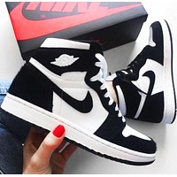 NIKE Air Jordan 1 AJ 11 fluff black and white panda high-top basketball shoes