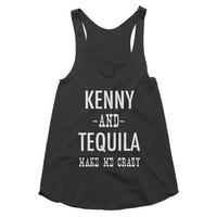 Kenny and Tequila make me crazy, Country, Music, Funny Tank, Shirt, Gym Tank, Yoga Top, festival, concert