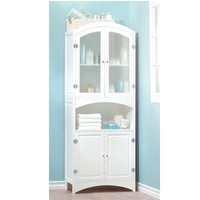 Tall White Kitchen And Bathroom Linen Wooden Storage Cabinet