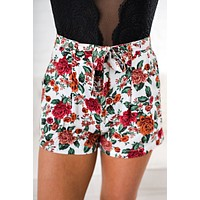 Ryder Floral Shorts (White)