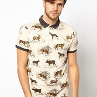 River Island Polo Shirt With Woodland Print