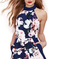 Floral Halter Backless Romper