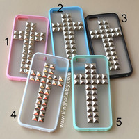Cross silver Pyramid Studded iPhone 5 caseFrosted by timehot