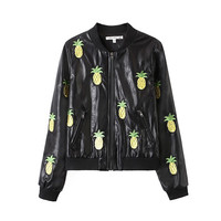 Black Faux Leather Pineapple Embroidery Jacket