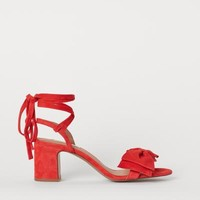 Suede Sandals - Red - Ladies | H&M US