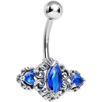 925 Silver Blue Marquise CZ Fanciful Swirls Belly Ring | Body Candy Body Jewelry