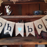 Burlap Baby Bunting, Baby Shower Decoration, Baby Boy Bunting, Baby Bunting, Pregnancy Photo Prop,  Rustic Bunting, Oh Boy