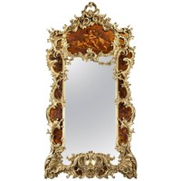Large Giltwood and Vernis Martin Mirror by Louis Majorelle from the Dutch Royal