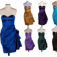 Sheath Sweetheart Sleeveless Short/Mini Satn Fashion Prom Dr esses/Wedding Dress/Cocktail Dress With Pleated Free Shipping