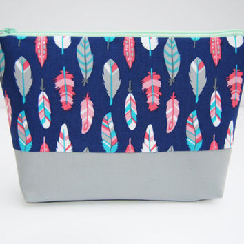 Pretty makeup bag, feather makeup bag, feathers cosmetic case, blue and coral bag, travel toiletry tote, Gray blue and peach, cosmetic bag