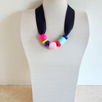 Statement necklace/Ceramic necklace/Neon necklace/Colorful necklace/Summer fashion/Original necklace/Ribbon jewelry/Cool necklace/Funky neck