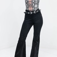 Around You Black Corduroy High Waisted Flares